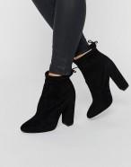 Public Desire Jenna Tie Back Black Boots, Asos